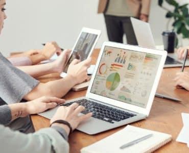Analytics report on laptop
