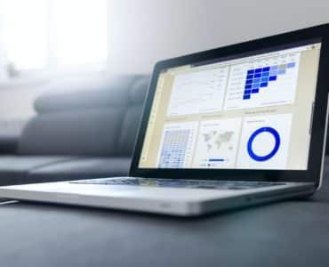 Data analysis dashboard on laptop