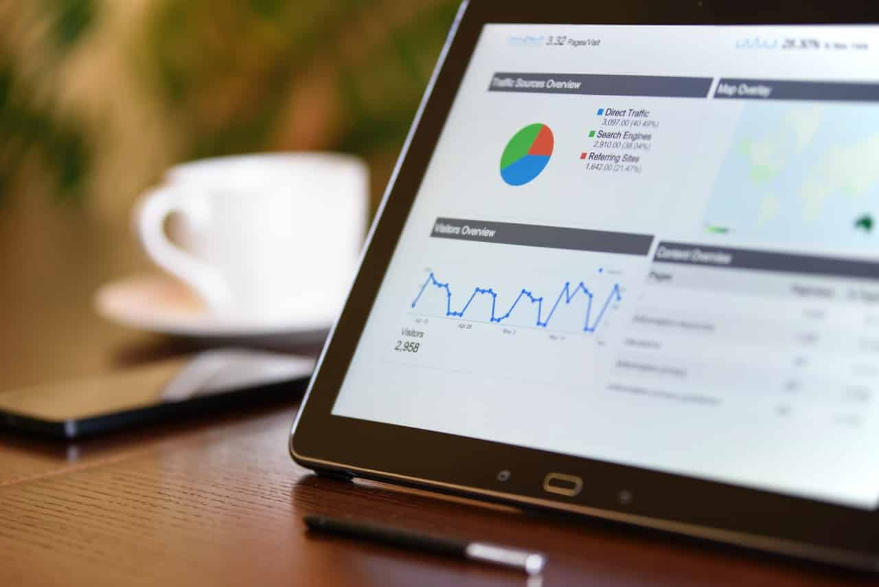 Infographics and analytics reports on tablet
